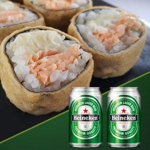Sushi Rão com Heineken